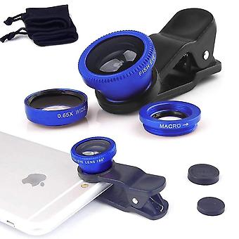 ONX3 (Blue) Mobile Phone Universal Camera Lens 3 in 1 Kit Wide Angle + Fisheye + Macro Lens For  Vivo Z1