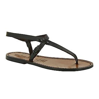 Handmade leather thong sandals for women in dark brown