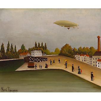 Landschaft mit einem Luftschiff, Henri Rousseau, 60x50cm