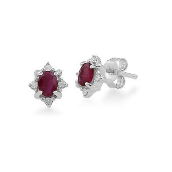 Gemondo 9ct White Gold 0.48ct Ruby & Diamond Oval Cluster Stud Earrings