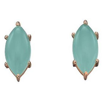 Elements Silver Marquise Cab Earrings - Green/Rose Gold