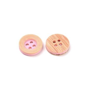Packet 10 x Pale Pink/Beige Resin 13mm Round 4-Holed Sew On Buttons HA10975