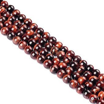 Strand 30+ Red/Brown Tiger Eye 6mm Plain Round Beads Y07580