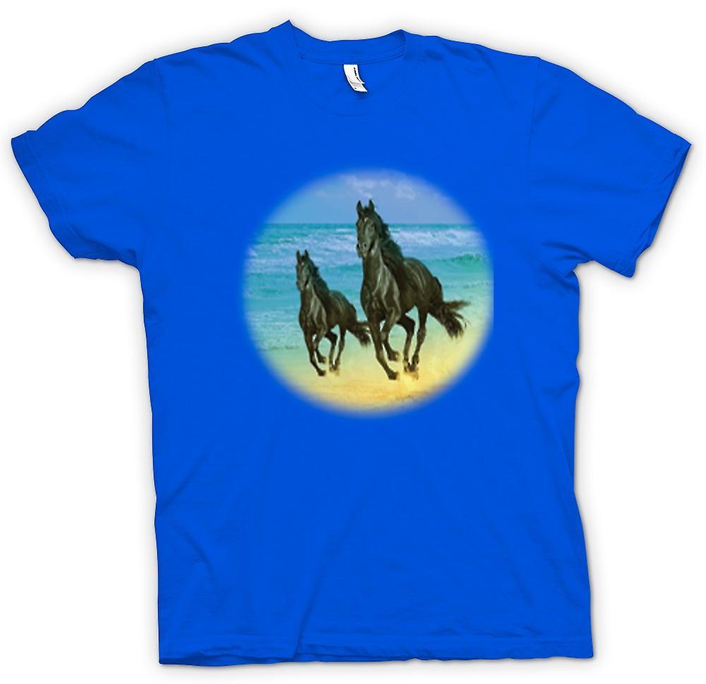 Camiseta para hombre-galope de caballos en la playa