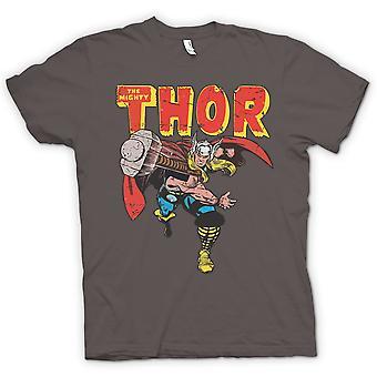 Mens T-shirt - The Mighty Thor Throwing Hammer - Superhero