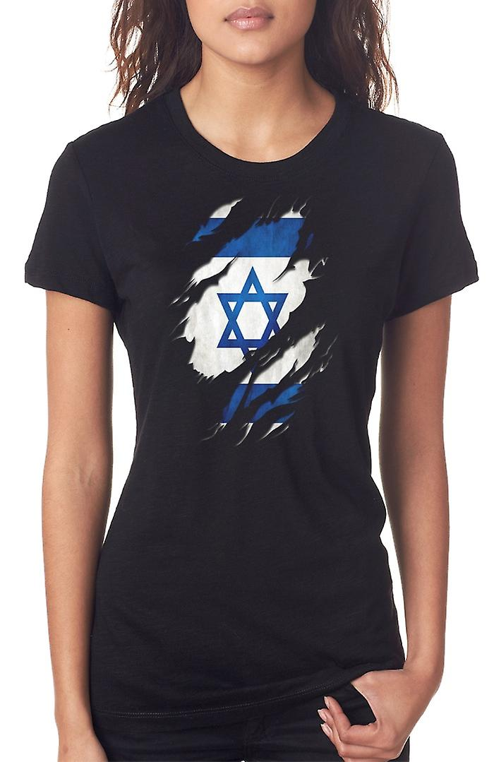 Israeli Grunge Flag Ripped Effect Ladies T Shirt