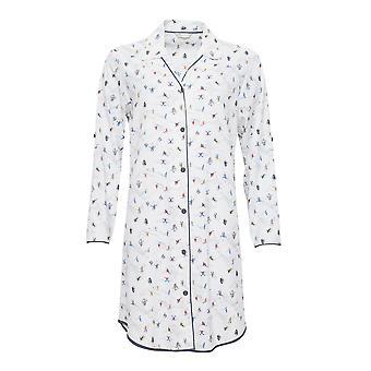 Cyberjammies 4086 Women's Aspen White Skiing Print Sleep Shirt Nighty Nightshirt