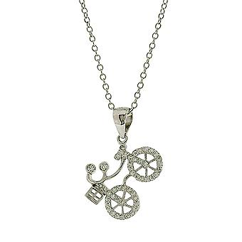 Jo For Girls Sterling Silver CZ Set Bicycle Pendant Necklace 14+2