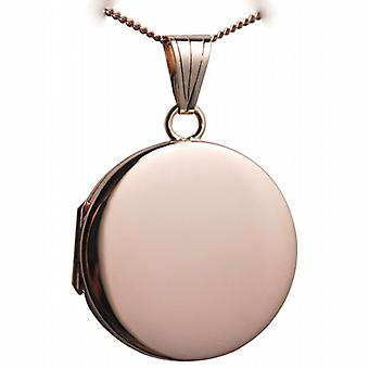 9ct Rose Gold 23mm round flat plain Locket with a curb Chain 16 inches Only Suitable for Children