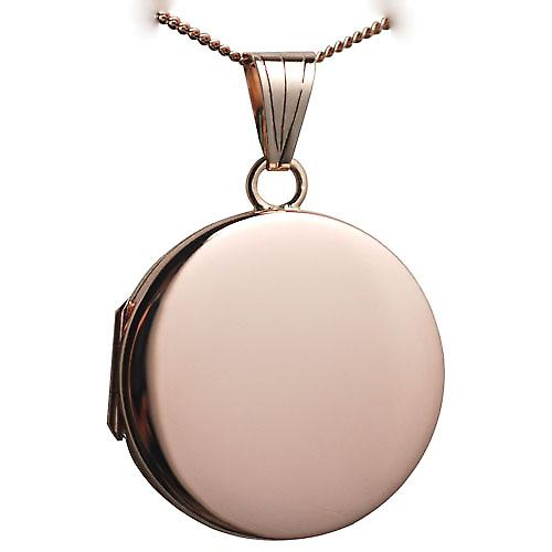 9ct Rose Gold 23mm round flat plain Locket with a curb Chain 18 inches