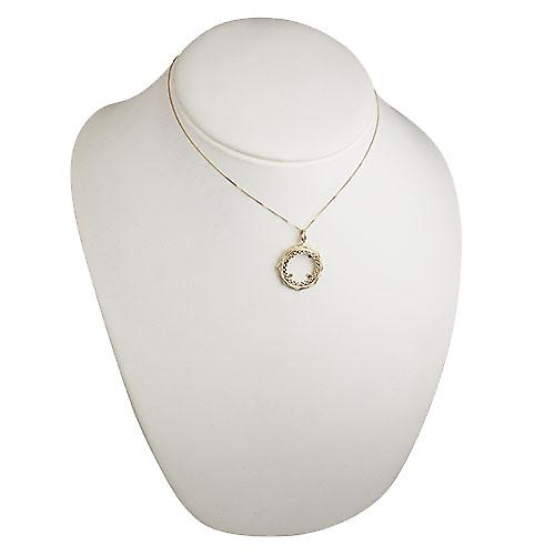 9ct Gold 26mm Half Sovereign mount with a diamond cut Bezel Pendant with a curb Chain 16 inches Only Suitable for Children