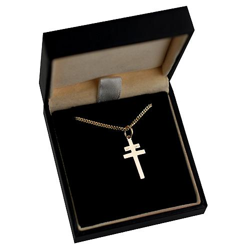 9ct Gold 20x17mm Cross of Lorraine with a curb Chain 16 inches Only Suitable for Children