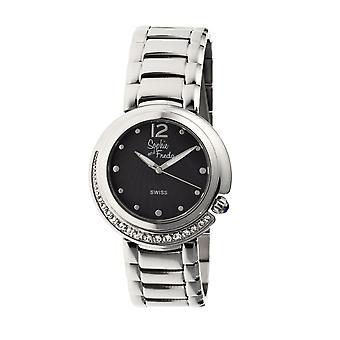 Sophie & Freda Lisbon Ladies Swiss Bracelet Watch - Silver/Black