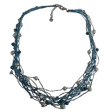 Aqua Blue Multi Strand Statement Necklace Beach Wedding Necklace