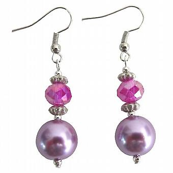 Mauve Pearl Earrings Fuchsia Crystal Bali Silver Fun Wearing Earrings