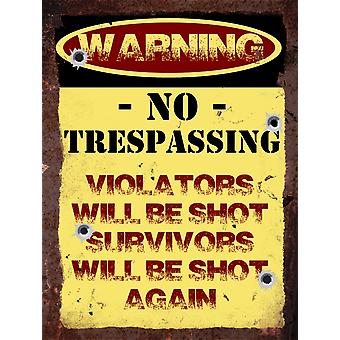 Vintage Metal Wall Sign - Warning, No Trespassing