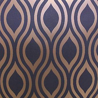 Retro Geometric Wave Wallpaper Navy Blue Gold Metallic Textured Arthouse Ogee