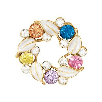 Eternal Collection Petals Crystal And White Enamel Gold Tone Scarf Clip