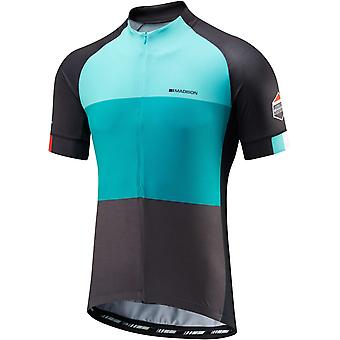 Madison Blue Blocks 2016 Sportive Half-Zip Short Sleeved Cycling Jersey
