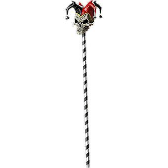 Adult Red Jester Skull Cane Carnival Halloween Fancy Dress Costume Accessory