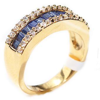 Ah! Smycken ädla Sapphire ädelstenar Bar Ring. Guld fyllda, stämplad GL