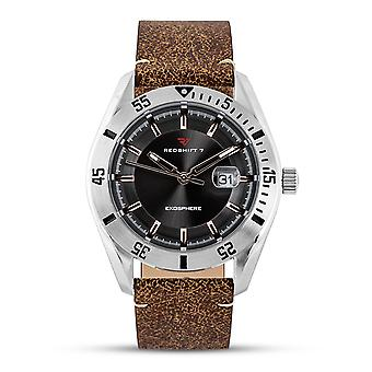 Redshift 7 Exosphere Leather-Band Watch w/Date - Brown/Charcoal