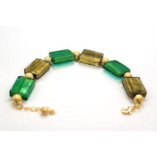 The Olivia Collection Ladies Goldtone Green Oblong Glass Bead Bracelet