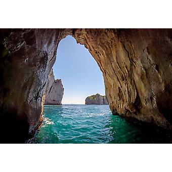 Fond d'écran fresque bleu grotte dans l'île de Capri