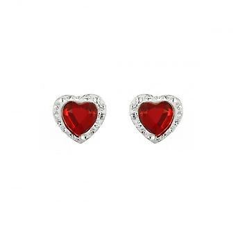 Eternity Sterling Silver Red Crystal Heart Stud Earring