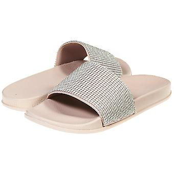 Sara Z Womens Soft Slip-On Slide Slippers With Rhinestones
