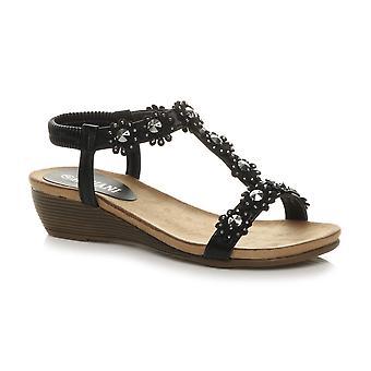 Ajvani Womens mitten hälen Diamante blomma slingback rem sommar T-Bar sandaler