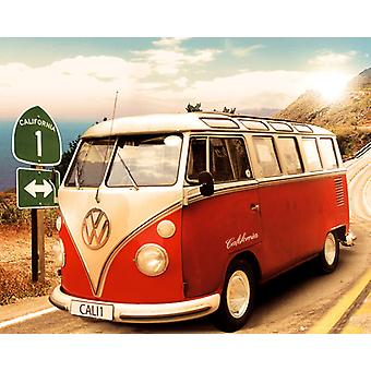 VW Camper Route One Mini Poster 40x50cm