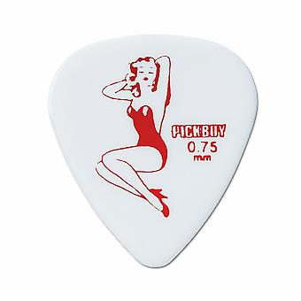 6 Pickboy Guitar Picks/Plectrums - Design Marilyn Monroe White - Medium 0.75mm