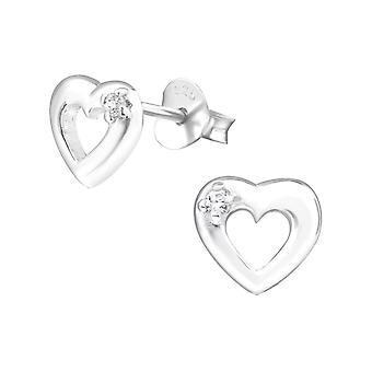 Corazón - 925 plata Circonita zarcillos - W21873X