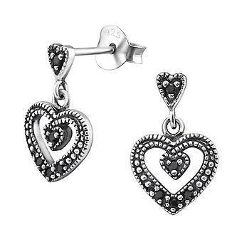 Heart - 925 Sterling Silver Cubic Zirconia Ear Studs - W31012X