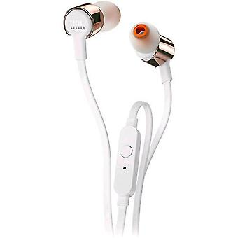 Jbl jblt210rgd earphones with microphone cable 1.1 mt jack 3.5 mm color gold/white