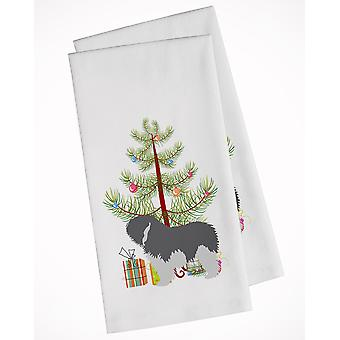 Polish Lowland Sheepdog Dog Merry Christmas Tree White Kitchen Towel Set of 2