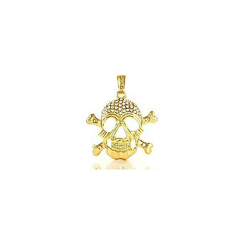 Pendant with chain Cz gold sparkling skull