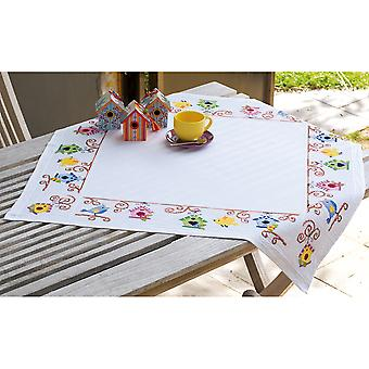 Birds And Bird Houses Tablecloth On Aida Counted Cross Stitc-32