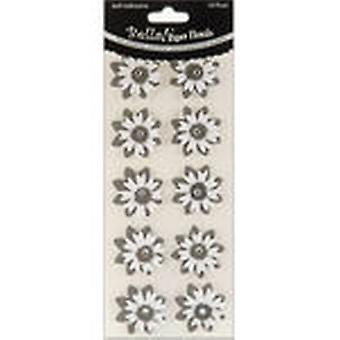 Bella! Wedding Glittered Self Adhesive Paper Florals 10 Pkg Black Bwf50