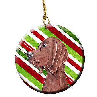 Redbone Coonhound sukkerstang Christmas keramiske Ornament SC9803CO1