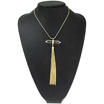 Kenneth Jay Lane Large Facet Stone and Gold Plated Pendant on  Necklace