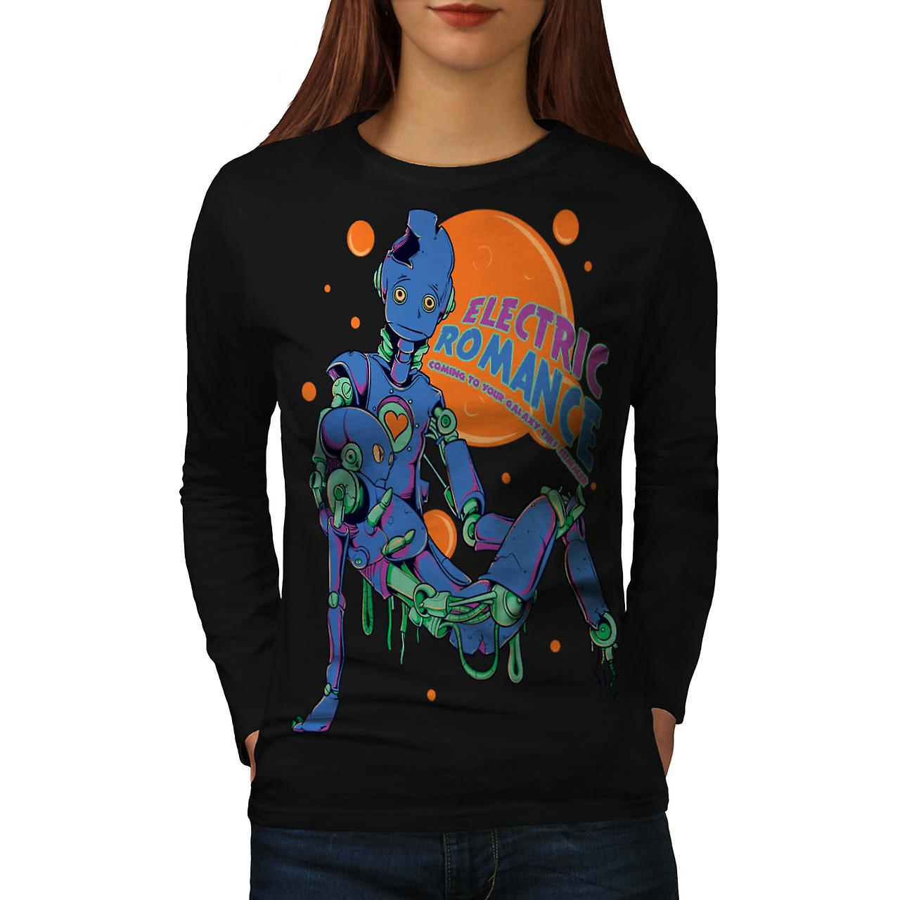Electric Romance Robot SciFi Love Women Black Long Sleeve T-shirt | Wellcoda
