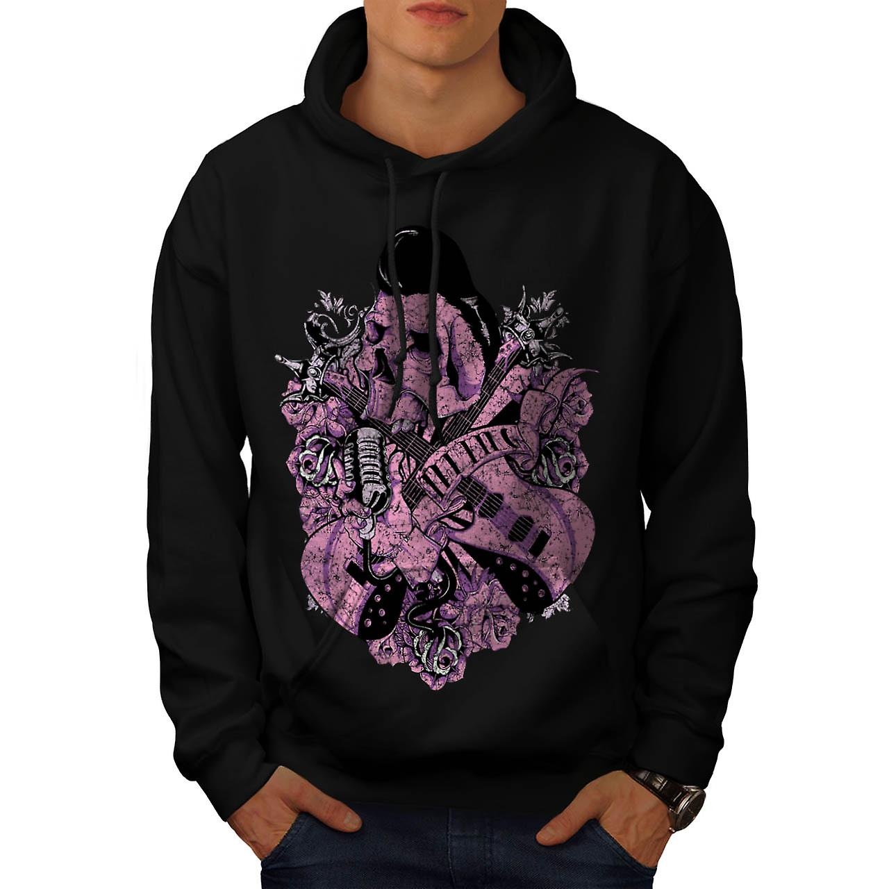 Music Guitar Skull Acoustic Song Men Black Hoodie | Wellcoda