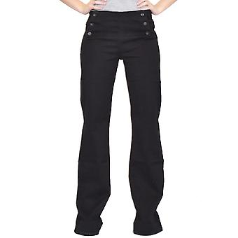 60s 70s Style Flares Wide Flared Stretch Jeans - Black