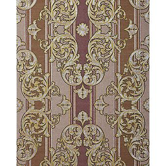 Baroque wallpaper EDEM 580-34 foam vinyl wallpaper structured in textile design and metallic effect red brown perl-gold silver 5.33 m2