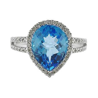 14k White Gold Pear Cushion Blue Topaz And Diamond Ring