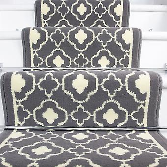 60cm Width - Contemporary Grey Trellis Stair Carpet