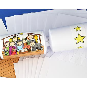 8 White Kids Christian Nativity Christmas Make & Fill Your Own Crackers Kit