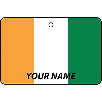 Ivory Coast Flag Personalised Car Air Freshener
